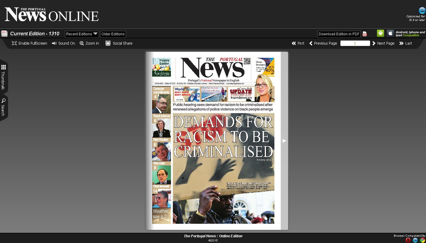 The Portugal News Epaper Engine and Website