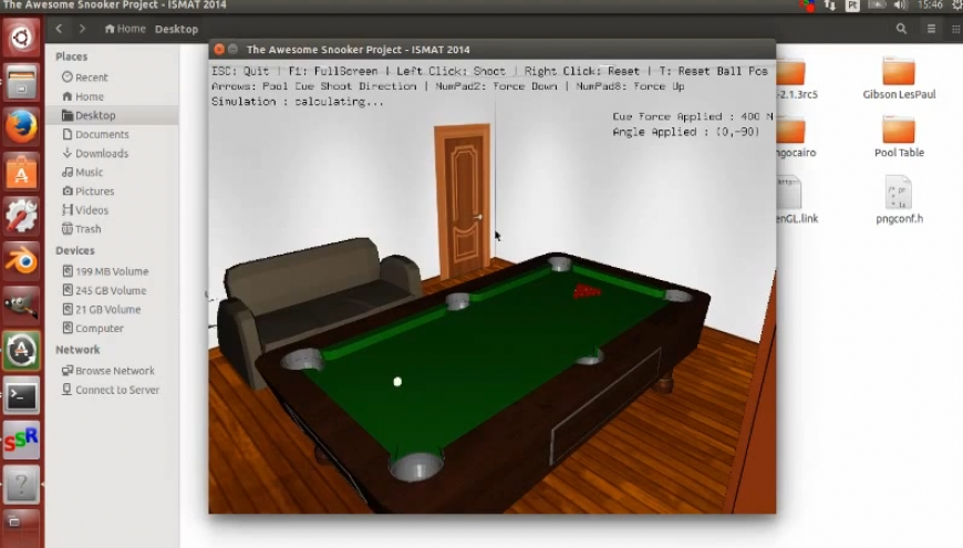 OpenGL + Bullet Physics Snooker Project C++